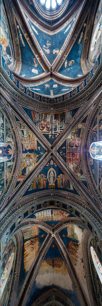 A Panorama of the Frescoes on the Ceiling of the Church of Saint Catherine of Alexandria in Galatina