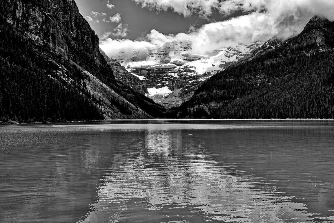 A Calm Day at Lake Louise in B&W
