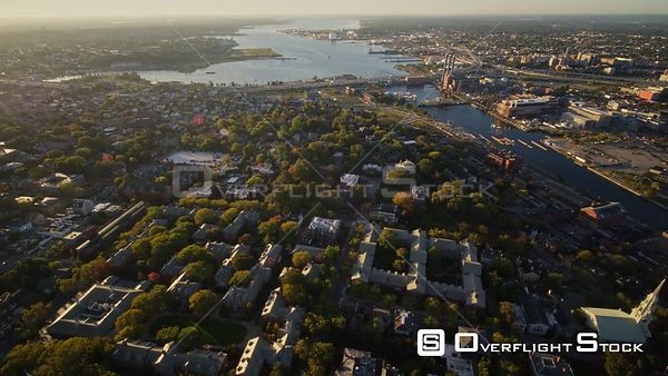 Providence Rhode Island Reverse panning birdseye of College Hill neighborhood area opening to harbor & skyline panoramic view...