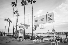 Newport Balboa Island Ferry Black and White Photo