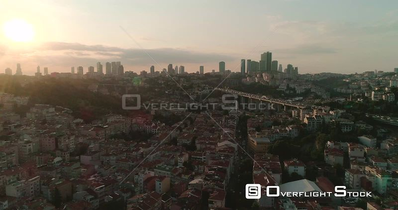 Aerial View of Istanbul Neighbourhood Next to Bosphorus Bridge, Otrakoy Turkey