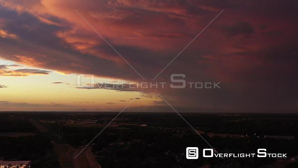 Storm Clouds and a Sunset with a Flat Horizon, Bryan, Texas, USA
