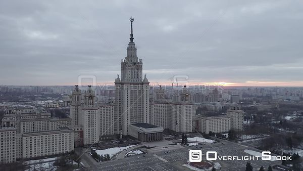 Winter Flight Pass the Moscow State University. Moscow Russia Drone Video View