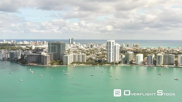Summer Scene in Miami Beach Sailboats and Condominiums on This Biscayne Bay