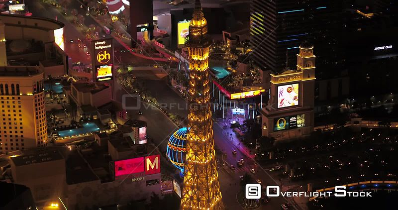 Las Vegas Aerial v46 Birdseye view flying around main strip area at night 4/17