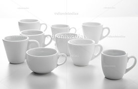 Set of various models of coffee cups seen on white background.