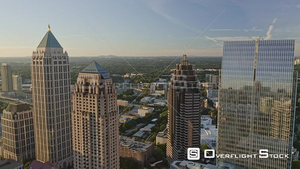 Atlanta Slow fly through Midtown skyline cityscape up high
