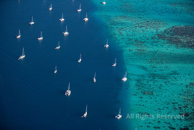 Sailboats Anchored of Tahiti Tropical Islands of French Polynesia