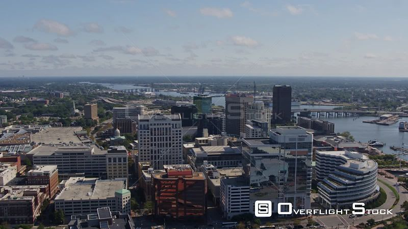 Norfolk Virginia Aerial Panning birdseye of downtown and river
