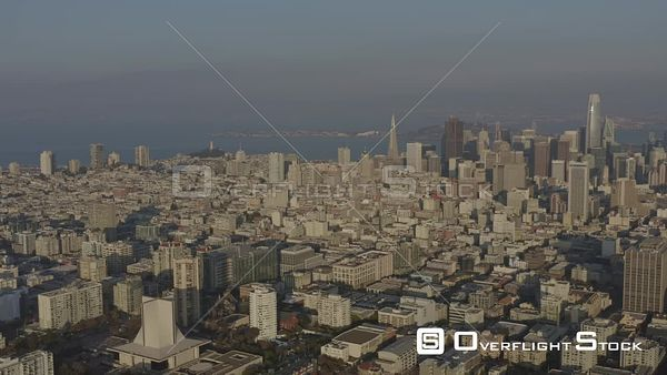 San Francisco Vertical downtown cityscape from Tenderloin, Civic Center into Fillmore District