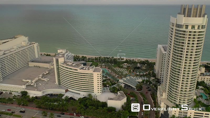 Aerial pull out back fly video Miami Beach Fontainebleau Hotel