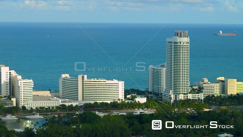 Aerial shot Fontainebleau Resort Hotel Miami Beach flyover
