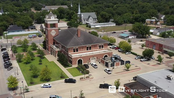 City Hall and First Presbyterian Church, Navasota, Texas, USA
