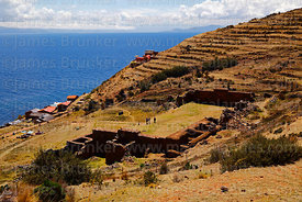 View over Inca site of Iñak Uyu, Moon Island, Lake Titicaca, Bolivia