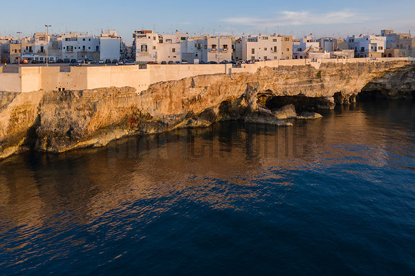 Aerial View of the Town and the Cliffs at Polignano al Mare