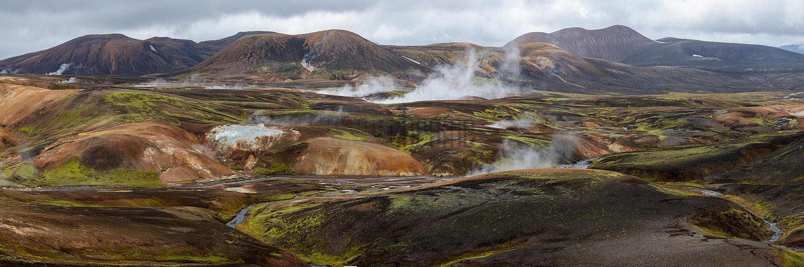 Panorama of a Geothermal Area in the Remote Highlands of Iceland