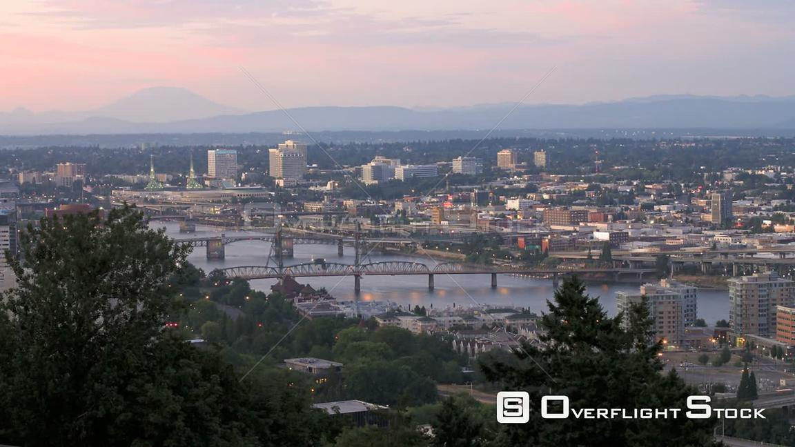 Portland Oregon USA Wide time lapse of Portland bridges