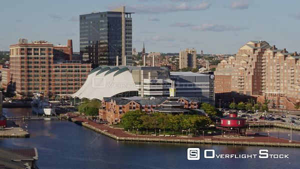Baltimore Maryland Aerial Panning around inner harbor close up