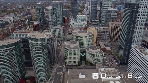Toronto Ontario Panning birdseye around downtown cityscape