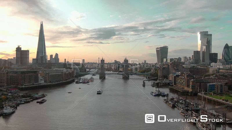 City of London Skyline The Shard and Tower Bridge, filmed by drone in autumn, day time, London, United Kingdom