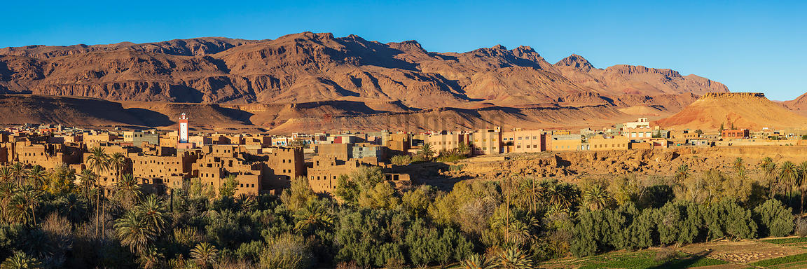 Landscape View of the Town of Tinghir towards the End of the Day