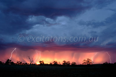 Electrical storm at sunset, outback Australia.