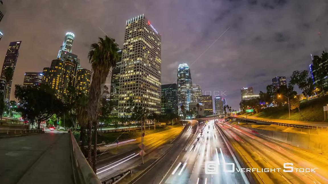 City traffic hyperlapse in downtown Los Angeles at night.  Los Angeles California