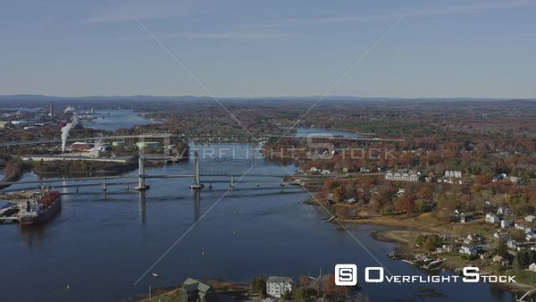 Portsmouth New Hampshire Short panning bridge and river cityscape
