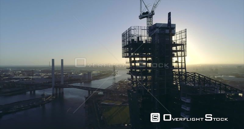 Docklands Construction Site at Sunset Drone Video Melbourne Australia