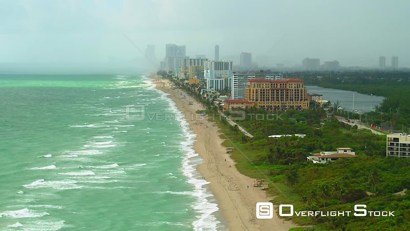 Aerial drone footage of Hollywood Beach Florida after passing rain storm