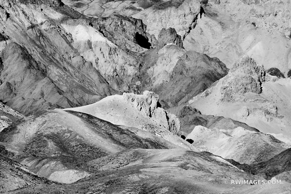 ARTISTS PALETTE DEATH VALLEY CALIFORNIA AMERICAN SOUTHWEST DESERT LANDSCAPE BLACK AND WHITE