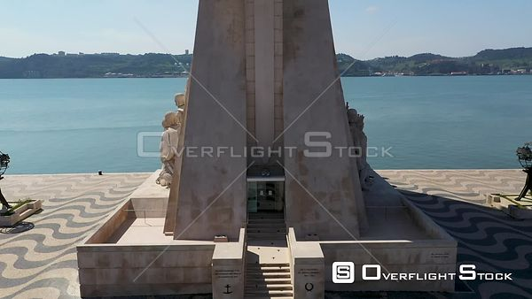 Aerial ascending revealing Monument to the Discoveries, in Belém, Lisbon, empty streets During Covid-19 Pandemic Portugal