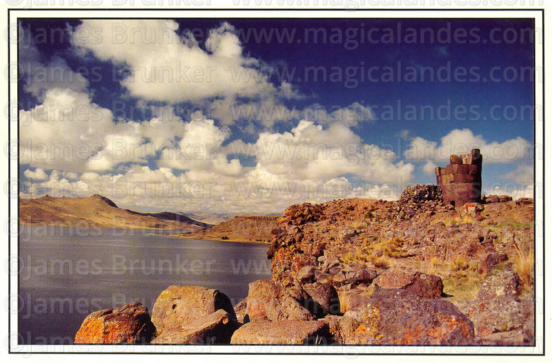 #93 Funery tower (chulpa) and Lake Umayo, Sillustani, Puno