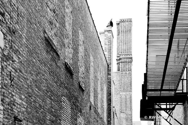 DOWNTOWN ALLEY MILWAUKEE WISCONSIN BLACK AND WHITE