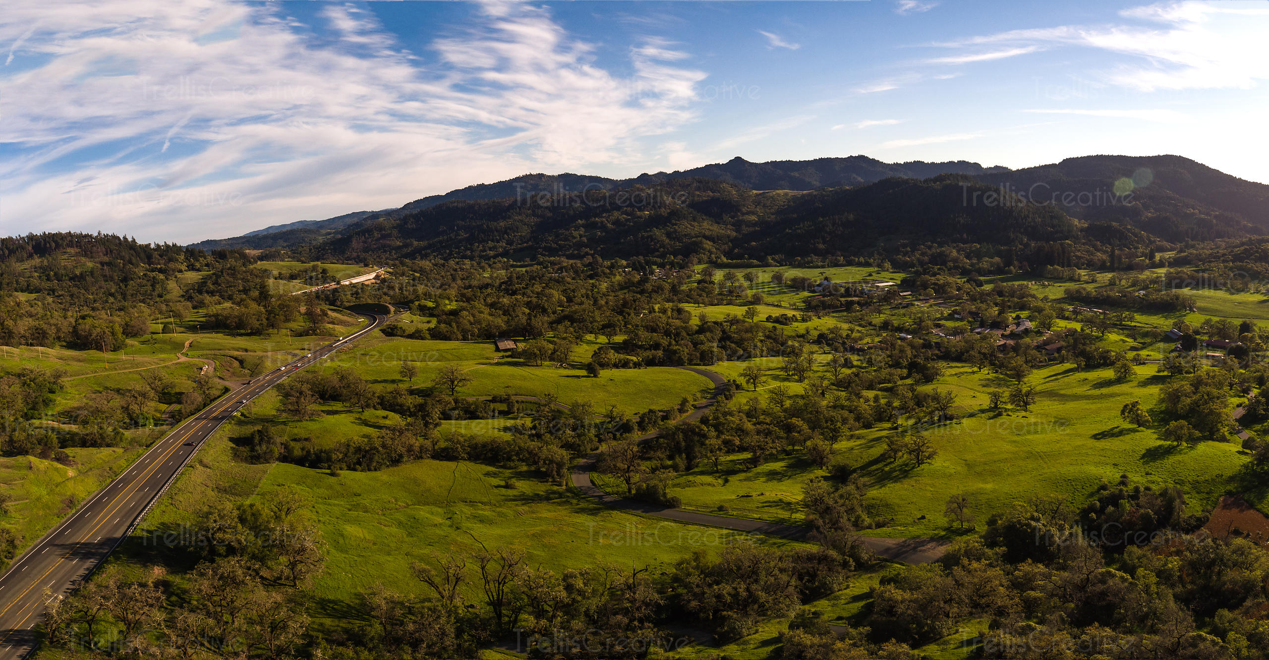 Aerial view of the Ridgewood Ranch valley near Willits, California.