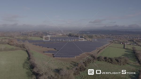 A Fly Over a Solar Park on a Sunny Autumnal Morning