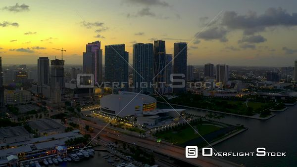 Twilight Aerial Footage Downtown Miami Fl Aa Arena and Museum Park