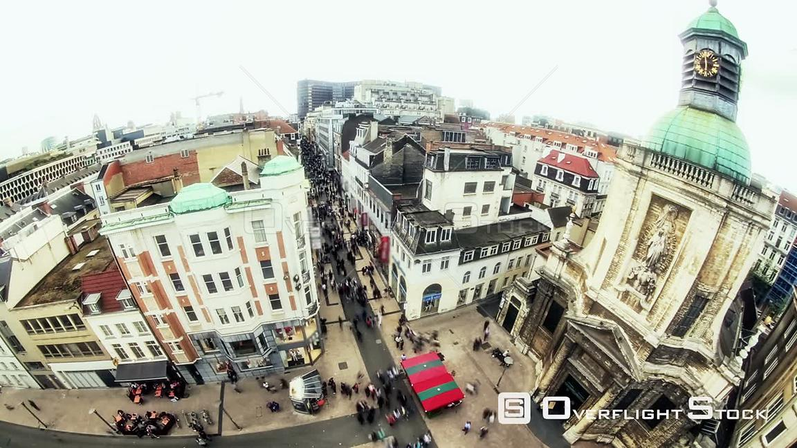 Crowded City pedestrian traffic time lapse Brussels shopping district, Belgium