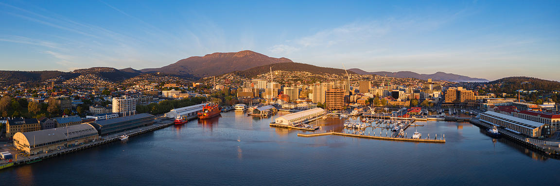 Elevated View of the Skyline of Hobart and Mt Wellington at Sunrise