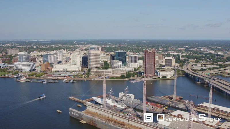 Norfolk Virginia Aerial Birdseye cityscape looking toward downtown with shipyard view