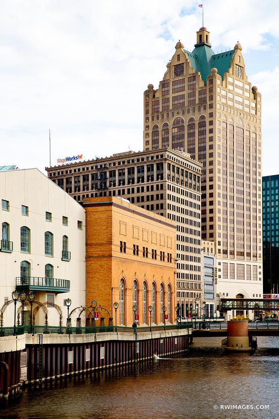 MILWAUKEE RIVER DOWNTOWN RIVERWALK MILWAUKEE WISCONSIN COLOR VERTICAL