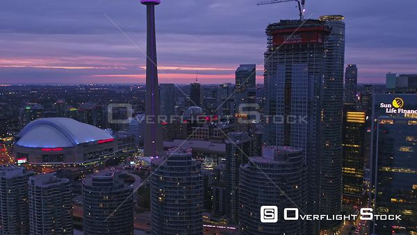 Toronto Ontario Panning around entertainment district cityscape at sunset