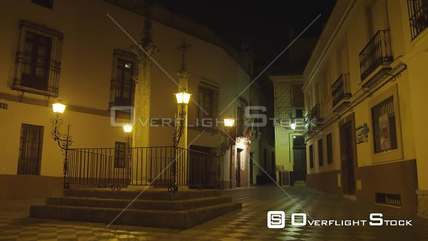 Traditional Street Scene and Historic Street Night Seville Spain