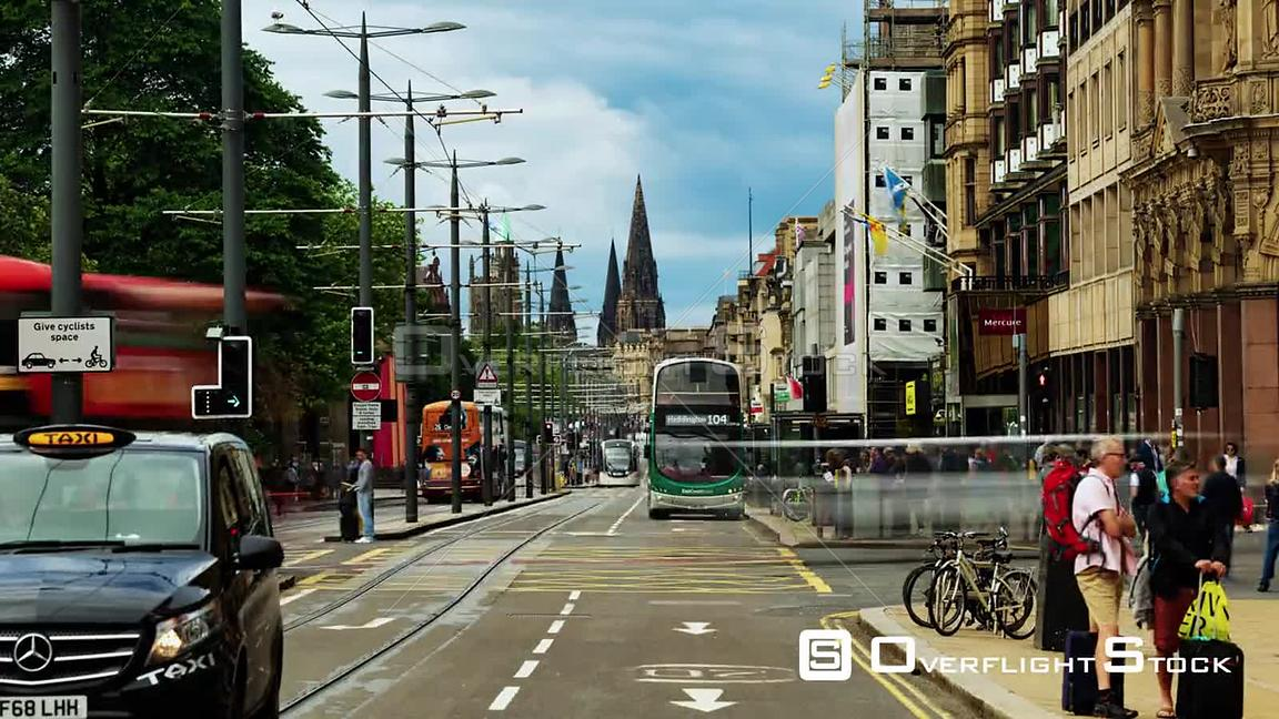 Timelapse View of Busy Princes Street in Edinburgh New Town Scotland