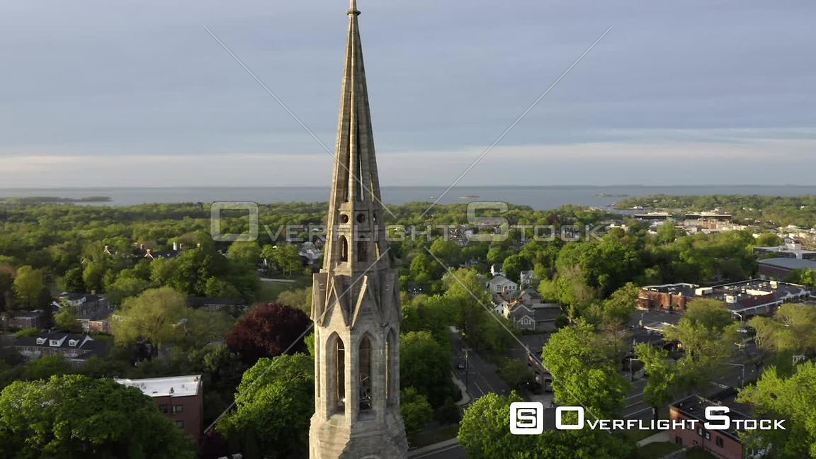 Drone Video Church Spire in Greenwich Connecticut Neighbourhood