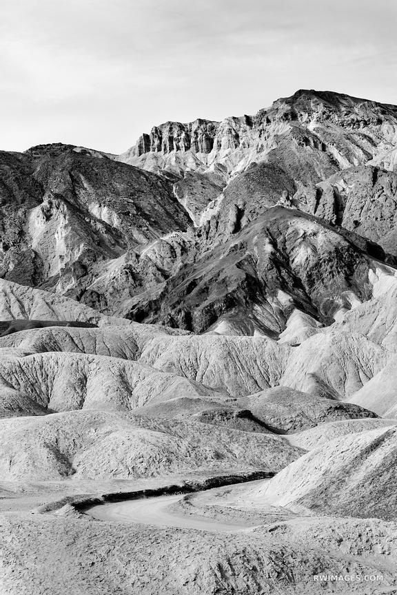TWENTY MULE TEAM CANYON DEATH VALLEY CALIFORNIA AMERICAN SOUTHWEST DESERT VERTICAL LANDSCAPE BLACK AND WHITE
