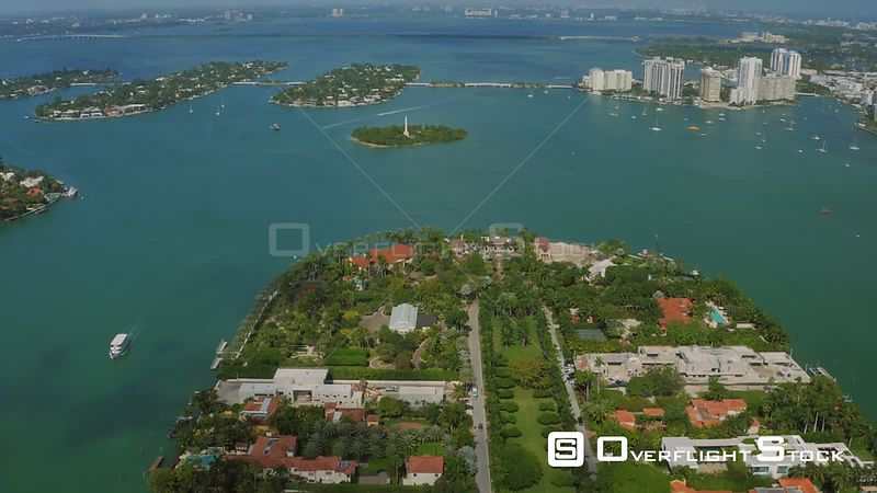 Miami Florida Flying over Star Island panning up.