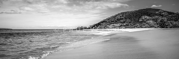 Makena Big Beach Maui Black and White Panorama Photo