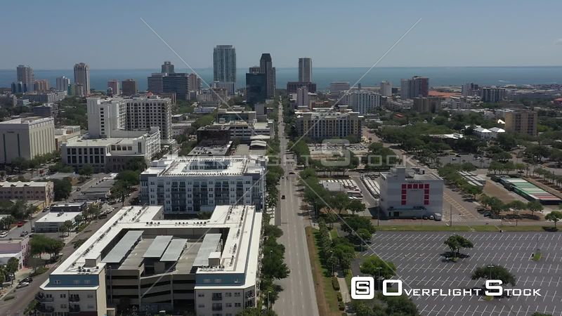 Aerial Footage Downtown St. Petersburg Florida Covid 19 Empty Streets