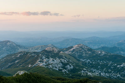 Aerial View After Sunset Over the Hills of Lovcen National Park in Montenegro
